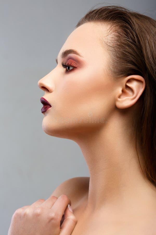 Het Portret van de Vrouw van de schoonheid Professionele Make-up voor Brunette stock fotografie