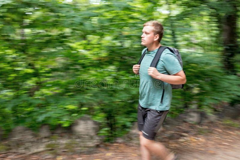 Het portret van de wandelingsmens met rugzak die in mooi bos wandelen royalty-vrije stock afbeelding