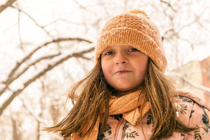 Het portret van de winter Meisje met de winterkleding royalty-vrije stock fotografie