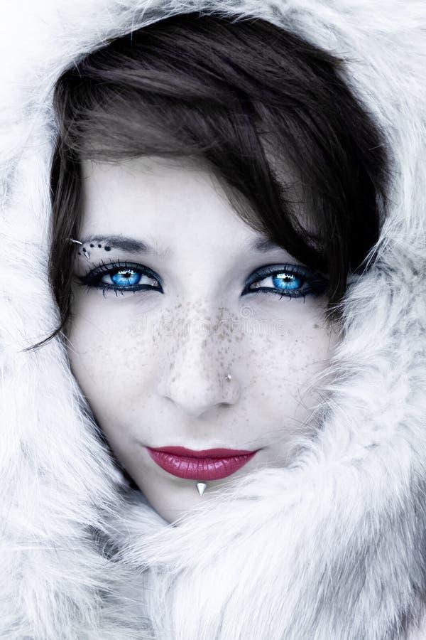 Het portret van de winter met bont stock fotografie