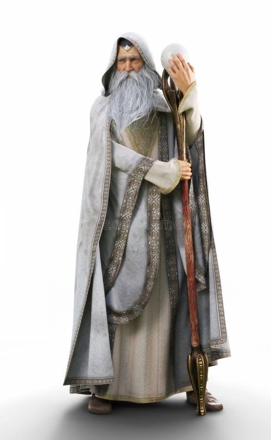 Het portret van een grijs met een kap cloaked tovenaar die zijn magisch personeel op een witte achtergrond houden stock illustratie