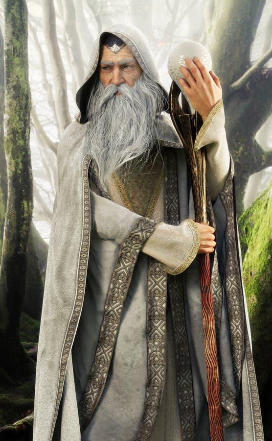 Het portret van een grijs met een kap cloaked tovenaar die zijn magisch personeel in een verrukt bos houden stock illustratie