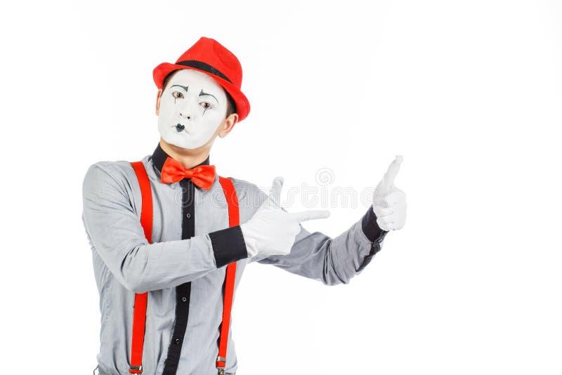 Het portret van een mens, kunstenaar, clown, BOOTST na Toont geïsoleerd iets, royalty-vrije stock afbeelding