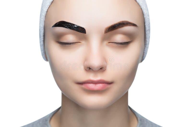 Het portret van een vrouw met mooie, goed-verzorgde wenkbrauwen, make-upkunstenaar past verfhenna op wenkbrauwen toe royalty-vrije stock fotografie