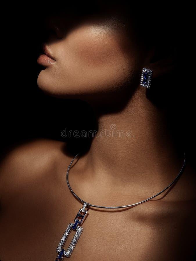 Het portret van elegante en mooie die jongelui kleedde smartly vrouw met het fonkelen juwelen van edele metalen op haar hals word royalty-vrije stock foto's