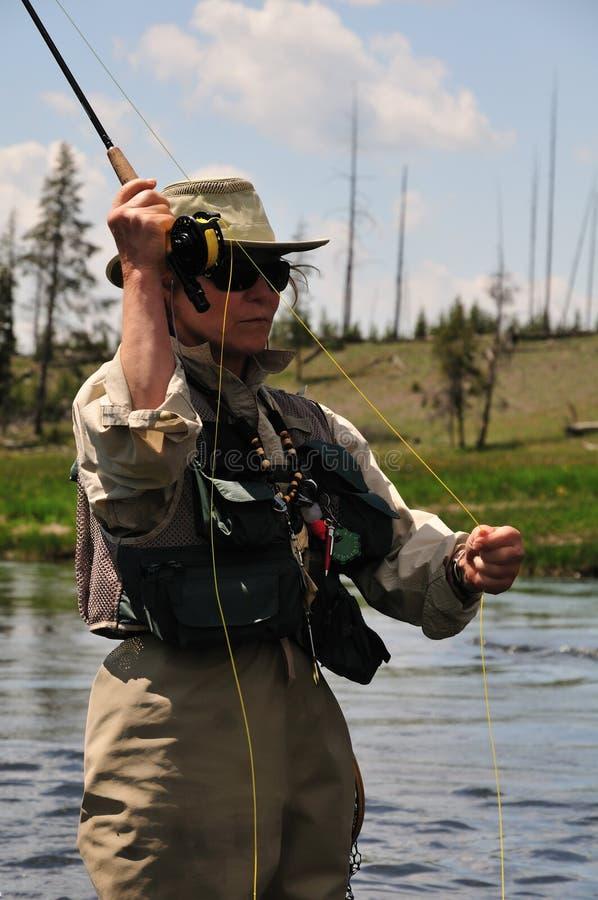 Het portret van Flyfishing stock foto's