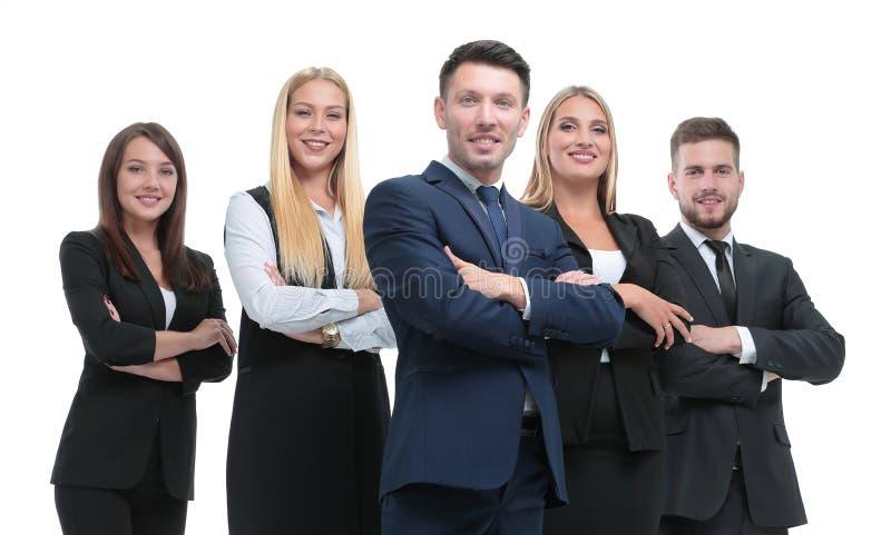 Het portret van gemiddelde lengte van groep bedrijfsdiemensen, op wit wordt geïsoleerd stock afbeeldingen