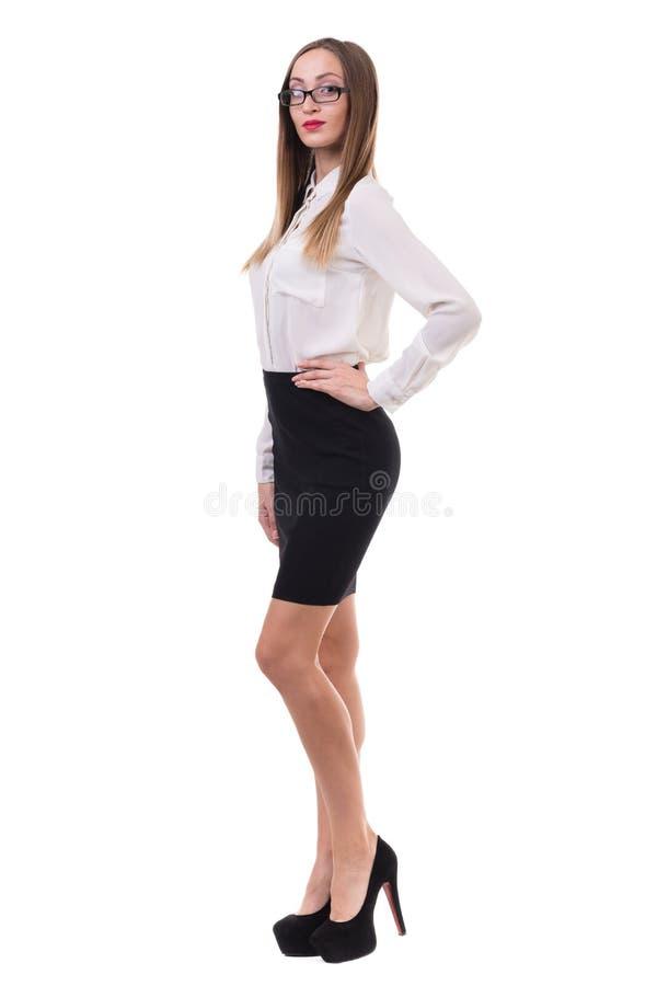 Het portret van gemiddelde lengte van een jonge bedrijfsvrouw stock foto's