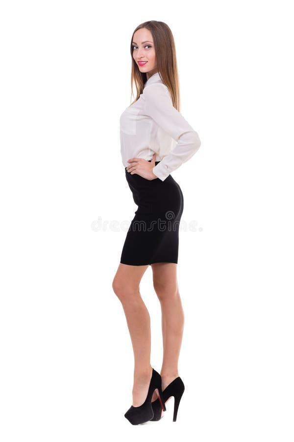 Het portret van gemiddelde lengte van een jonge bedrijfsvrouw stock afbeelding