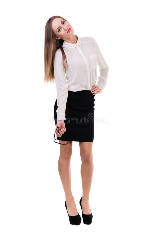 Het portret van gemiddelde lengte van een jonge bedrijfsvrouw stock afbeeldingen