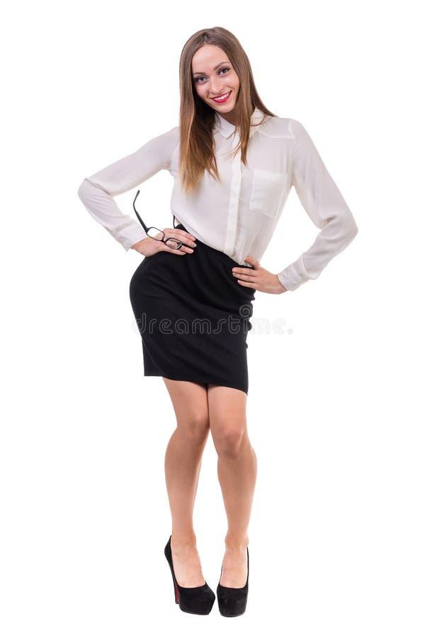 Het portret van gemiddelde lengte van een jonge bedrijfsvrouw royalty-vrije stock foto's