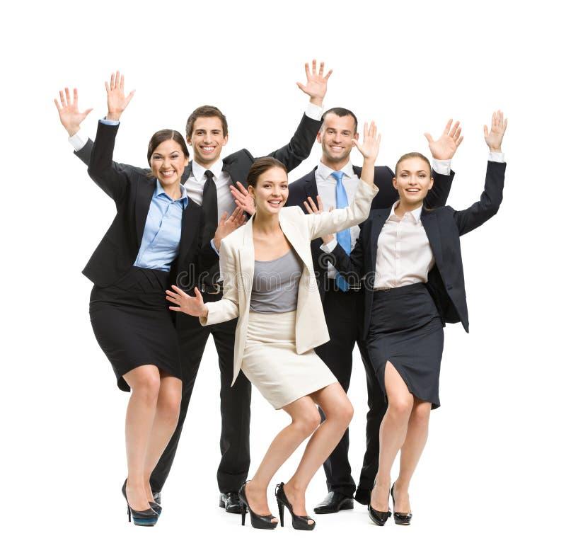 Het portret van gemiddelde lengte van groep gelukkige bedrijfsmensen royalty-vrije stock fotografie