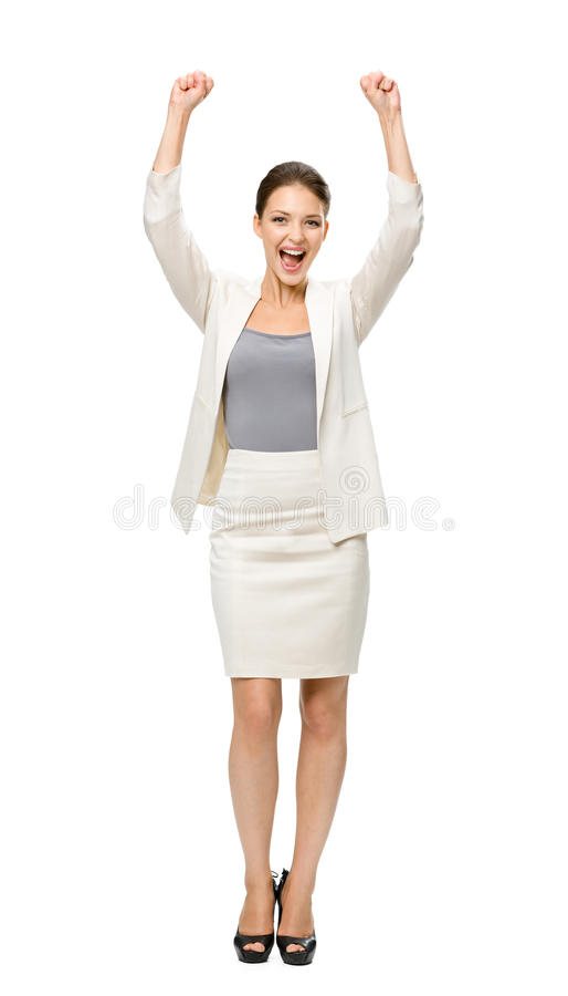 Het portret van gemiddelde lengte van onderneemster met omhoog handen stock foto's