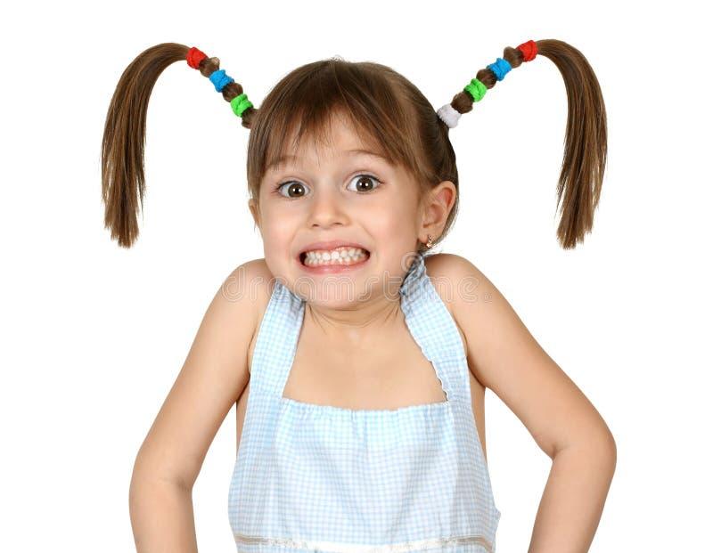Het portret van grappig shoked kindmeisje royalty-vrije stock afbeelding