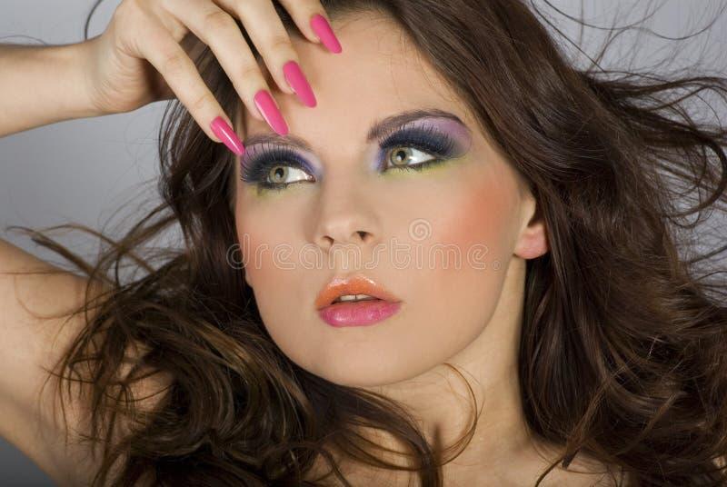 Close-upportret van mooie vrouw met professi royalty-vrije stock foto