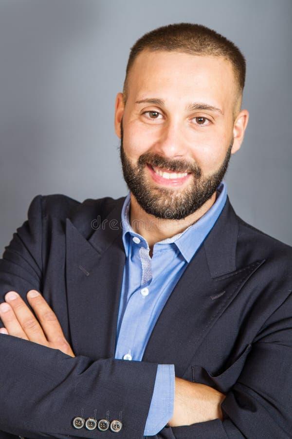Het portret van het glimlachen beared de mens royalty-vrije stock afbeeldingen