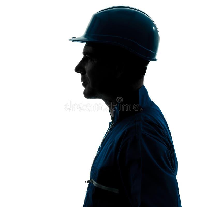 Het portret van het het profiel sideview silhouet van de mensenbouwvakker stock afbeelding