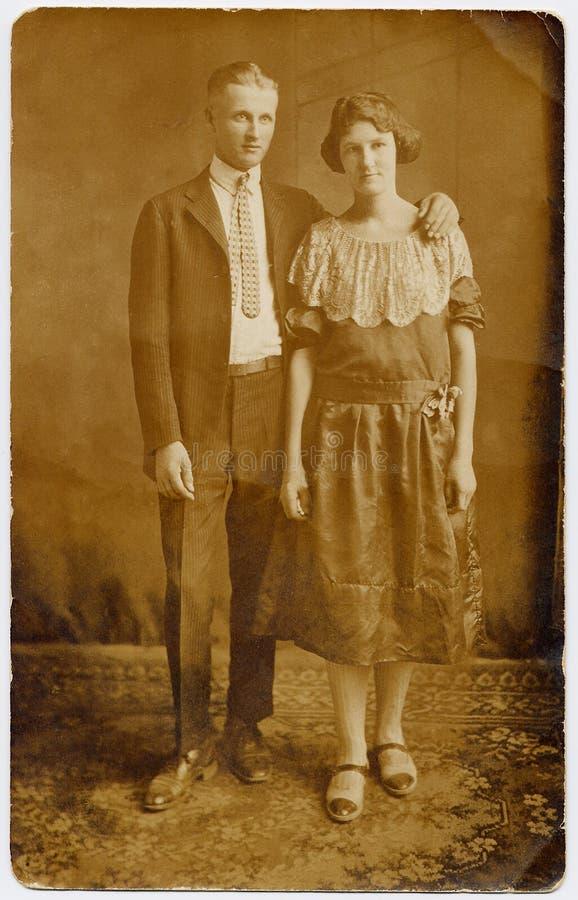 het Portret van het Huwelijk van het Paar van jaren '20 stock fotografie