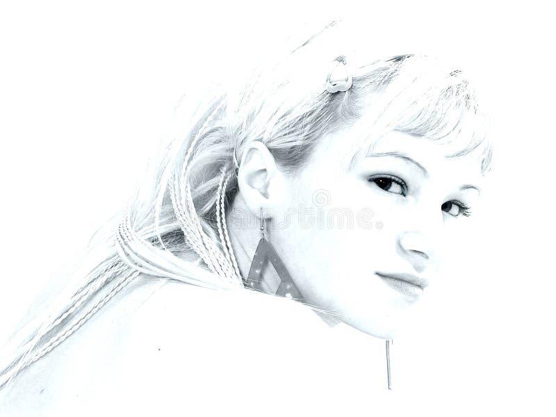Het portret van het meisje in hoog-sleutel royalty-vrije stock foto
