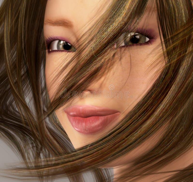 Het Portret van het Meisje van de schoonheid royalty-vrije illustratie