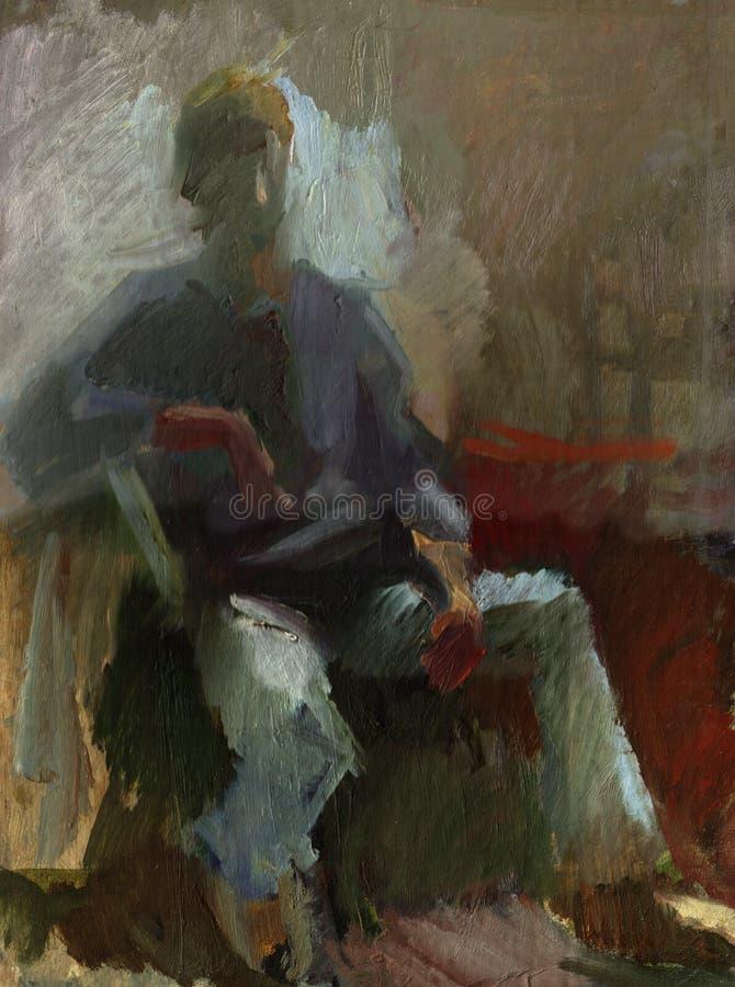 Het portret van het olieverfschilderij royalty-vrije illustratie