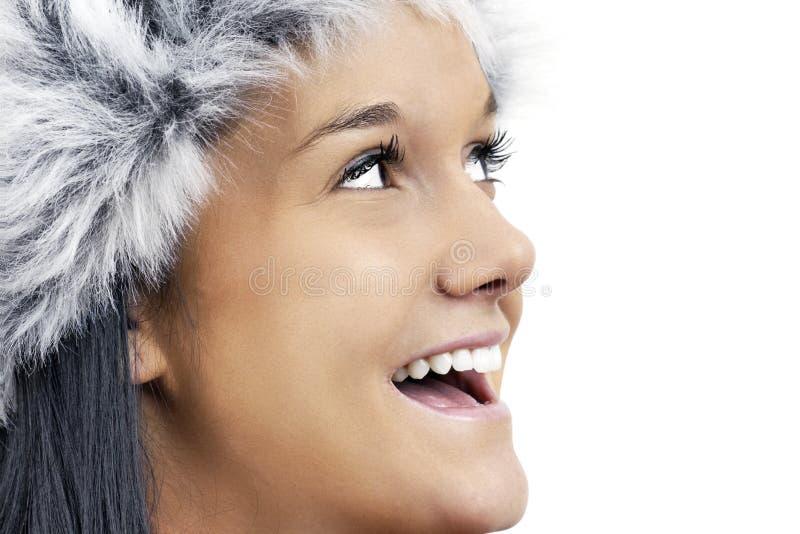 Het portret van het profiel glimlachen die omhoog eruit ziet stock foto's
