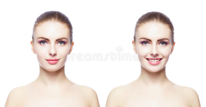Het portret van het schoonheidsclose-up van mooi, vers en gezond meisje H stock foto's
