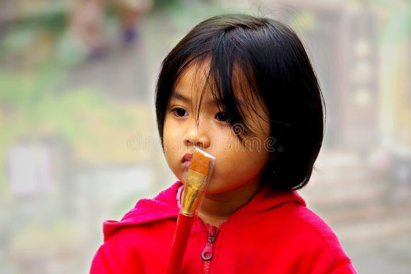 Het portret van het Vietnamese meisje stock foto's