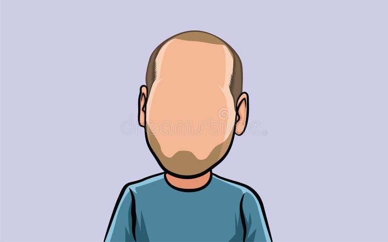 het portret van het karikatuurbeeldverhaal, groot hoofd stock illustratie