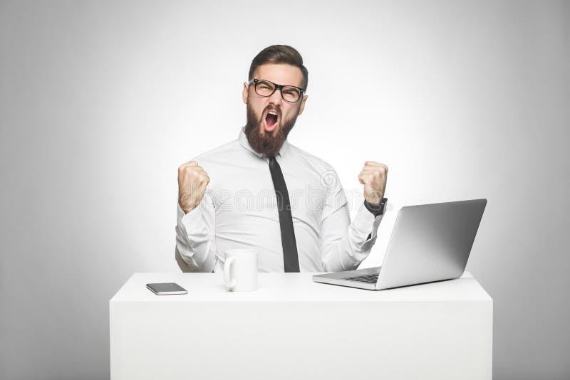 Het portret van knappe verbaasde tevreden positieve gebaarde jonge zakenman in wit overhemd en de avondkleding zitten in bureau e stock afbeelding
