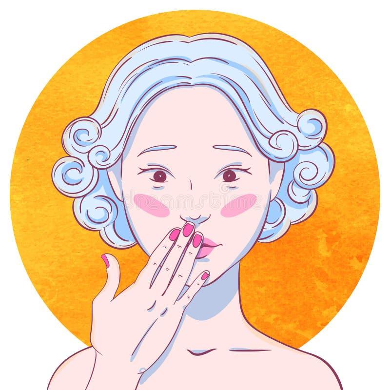 Het portret van krullend chastened jong Aziatisch meisje royalty-vrije illustratie