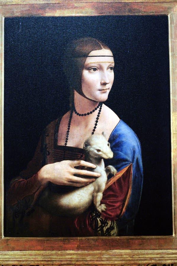 Het portret van Leonardo da Vinci ` s van een dame met een hermelijn royalty-vrije stock foto's