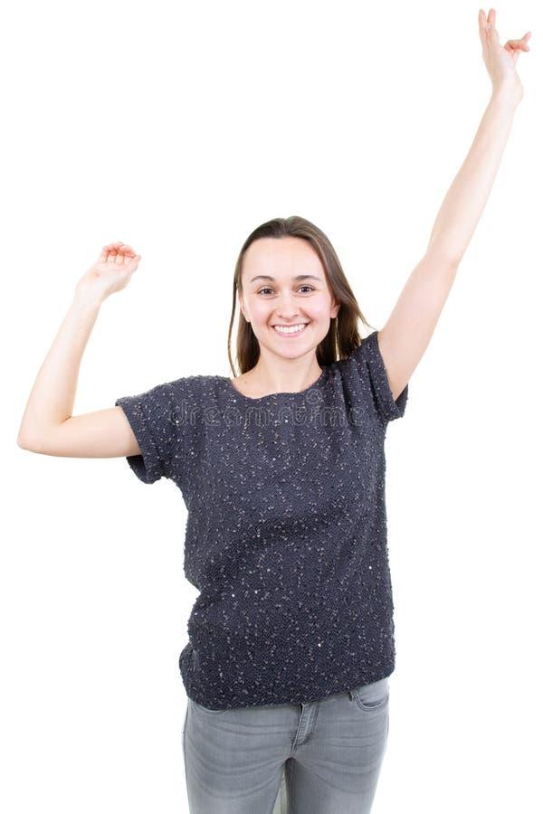 In het portret van het levensstijlconcept van vrolijk gelukkig meisje met het blije en opwindende glimlachen aan camera die op wi royalty-vrije stock afbeelding