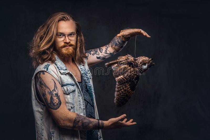 Het portret van a tattoed roodharige hipster mannetje met lang luxuriant haar en de volledige baard kleedde zich in een t-shirt e stock foto's