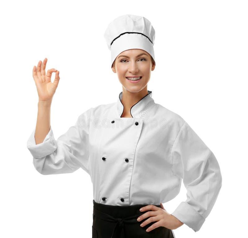 Het portret van vrouwelijke chef-kok isoleerde wit royalty-vrije stock foto's