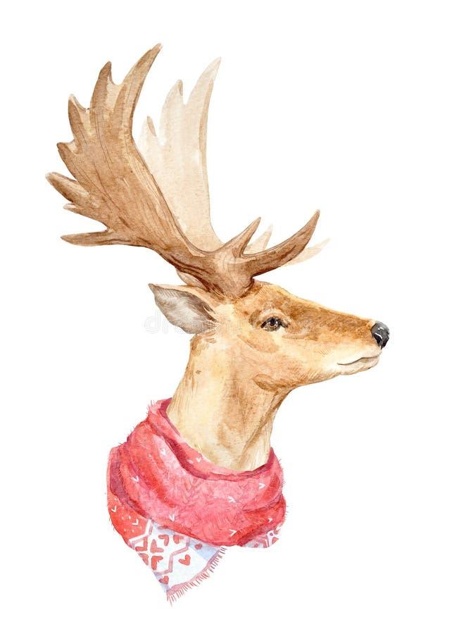 Het portret van waterverfherten stock illustratie