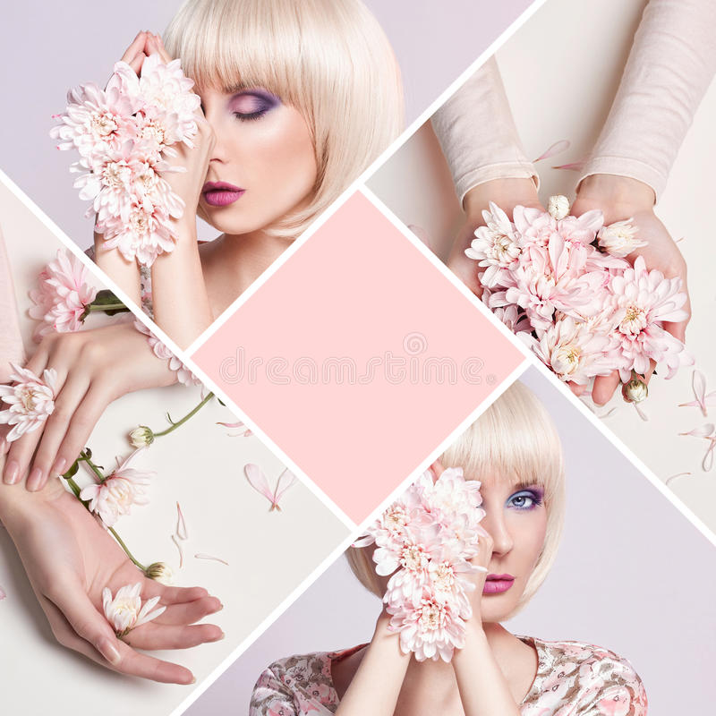 Het portretvrouw van de manierkunst in de zomerkleding en bloemen in haar hand met een heldere het tegenover elkaar stellen make- stock afbeelding