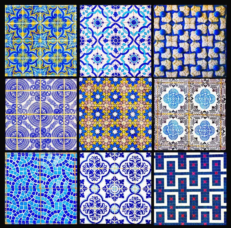 Het Portugese Tegels Retro Lapwerk, Geometrische Patrooncollage, verglaasde Met de hand gemaakte Azulejos, de Straatkunst van Por royalty-vrije stock afbeeldingen