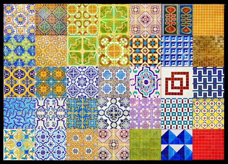 Het Portugese Tegelslapwerk, Collage Retro Geometrisch Patroon, verglaasde Met de hand gemaakte Azulejos, de Straatkunst van Port stock foto's