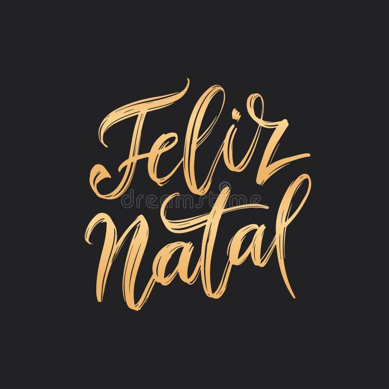 Het Portugese Vrolijke Kerstmis van Feliz Natal van letters voorzien Vector illustratie vector illustratie