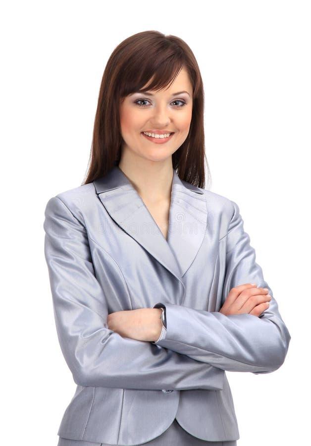 Het positieve bedrijfsvrouw glimlachen royalty-vrije stock fotografie