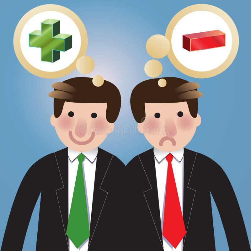 Het positieve negatieve denken vector illustratie