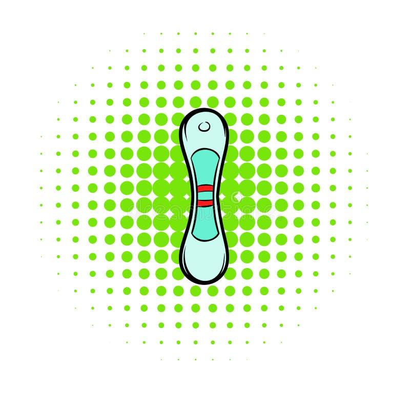Het positieve pictogram van de zwangerschapstest, strippaginastijl stock illustratie