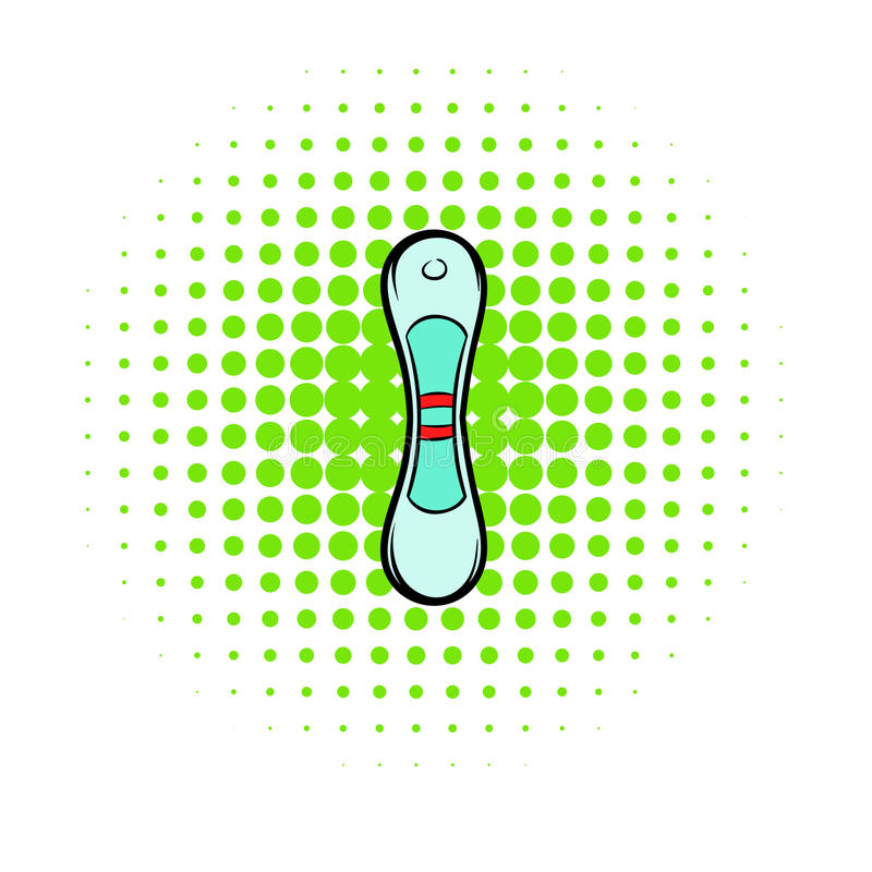 Het positieve pictogram van de zwangerschapstest, strippaginastijl vector illustratie