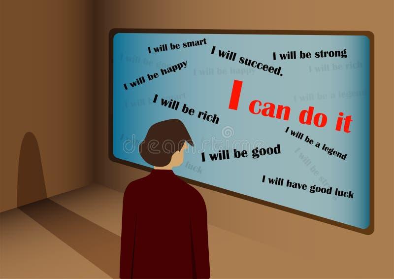 Het positieve zelf spreken Activeer me van het denken Ik zal zijn vector illustratie