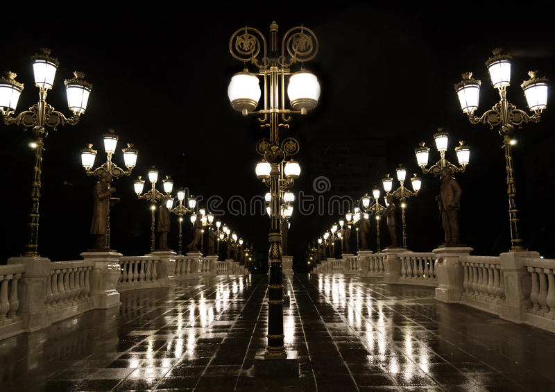 Het postlicht van de nachtlamp royalty-vrije stock foto