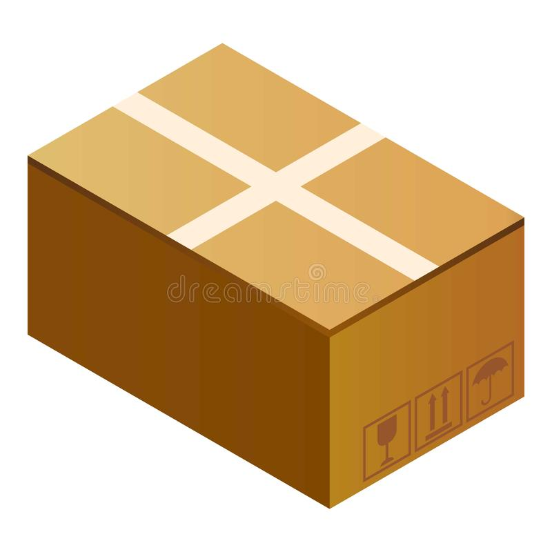 Het postpictogram van de pakketdoos, isometrische stijl royalty-vrije illustratie