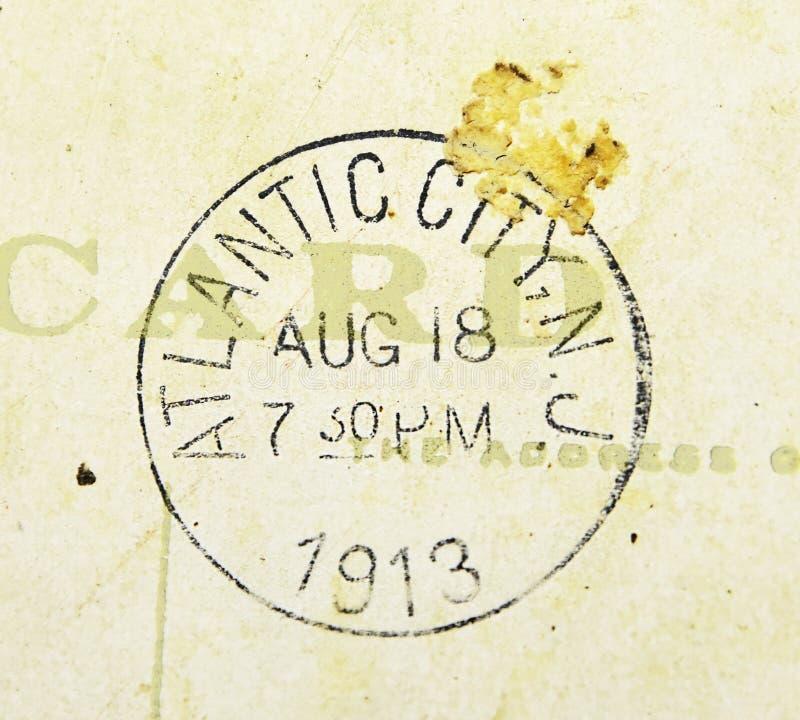 Het Poststempel 1913 van Atlantic City New Jersey royalty-vrije stock foto's