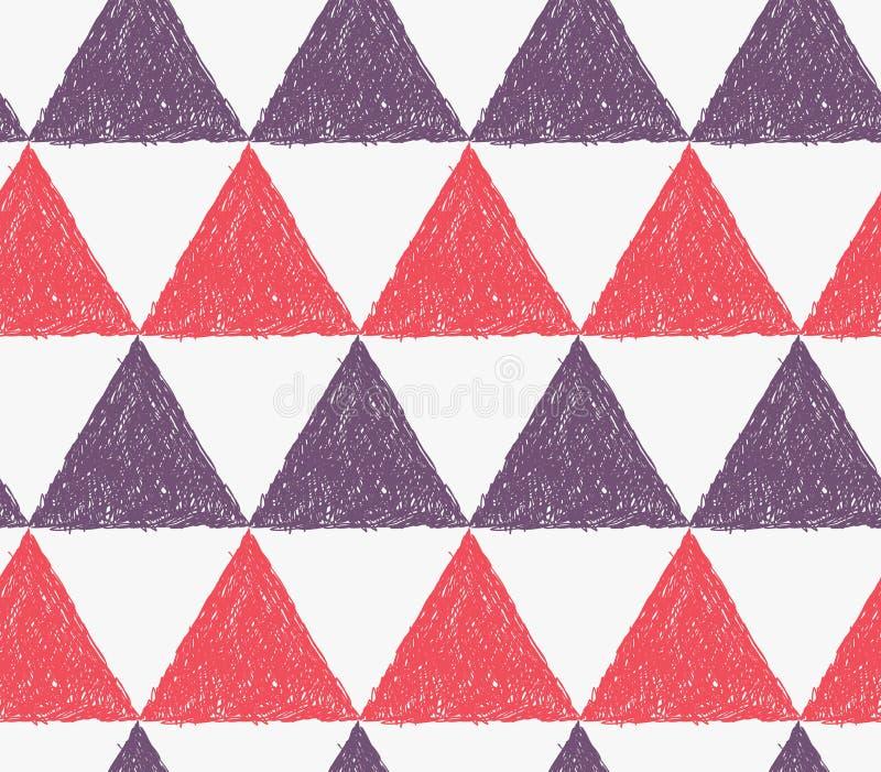 Het potlood broedde rode en purpere driehoeken uit stock illustratie