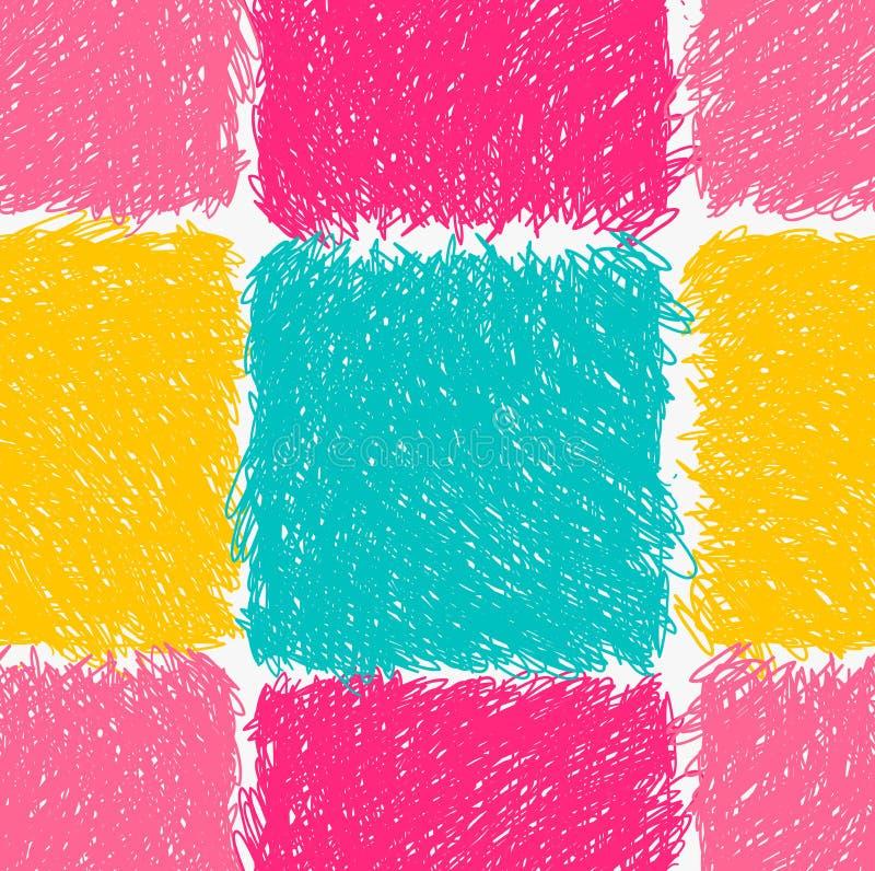 Het potlood broedde roze gele en groene vierkanten uit royalty-vrije illustratie